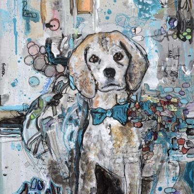 Casper Dog Portrait Painting