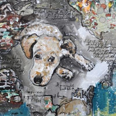 Linus Dog Portrait Painting